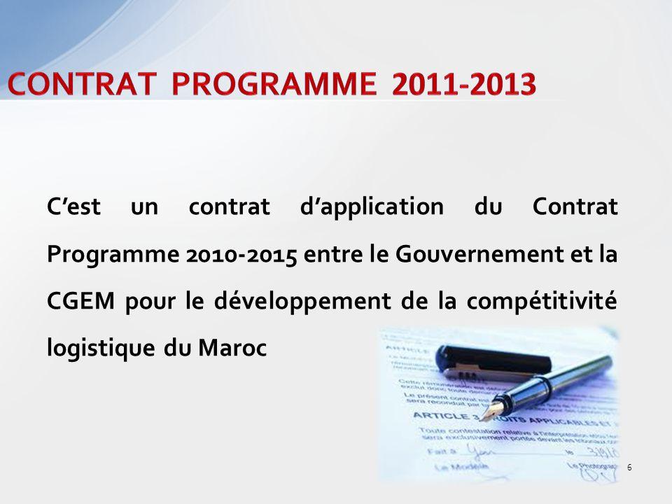 Cest un contrat dapplication du Contrat Programme 2010-2015 entre le Gouvernement et la CGEM pour le développement de la compétitivité logistique du Maroc 6