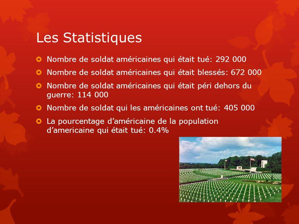 Les Statistiques Nombre de soldat américaines qui était tué: 292 000 Nombre de soldat américaines qui était blessés: 672 000 Nombre de soldat américai