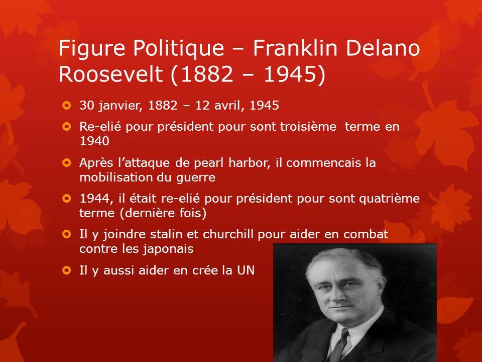 Figure Politique – Franklin Delano Roosevelt (1882 – 1945) 30 janvier, 1882 – 12 avril, 1945 Re-elié pour président pour sont troisième terme en 1940
