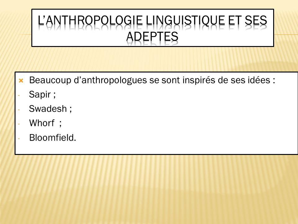 si lethnologie doit être comprise comme « la science traitant des phénomènes mentaux dans la vie des peuples du monde » (Boas 1911), le langage présente un double intérêt : a.