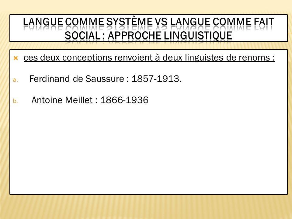 ces deux conceptions renvoient à deux linguistes de renoms : a. Ferdinand de Saussure : 1857-1913. b. Antoine Meillet : 1866-1936