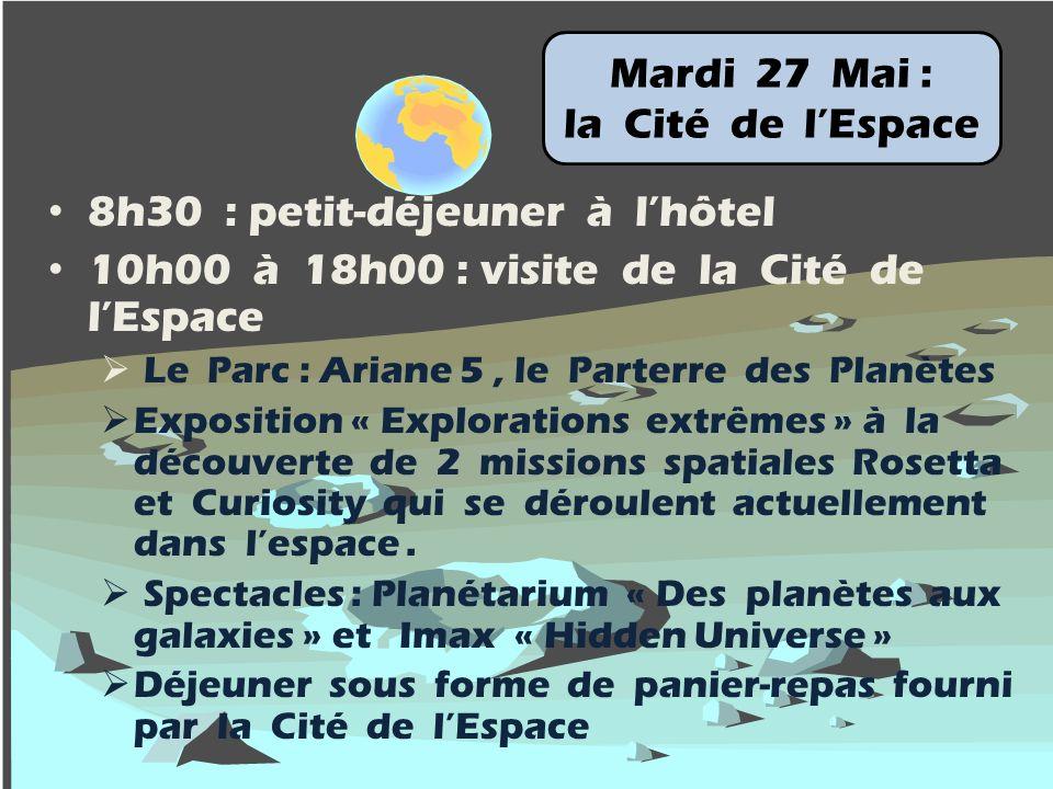 Mardi 27 Mai : la Cité de lEspace 8h30 : petit-déjeuner à lhôtel 10h00 à 18h00 : visite de la Cité de lEspace Le Parc : Ariane 5, le Parterre des Planètes Exposition « Explorations extrêmes » à la découverte de 2 missions spatiales Rosetta et Curiosity qui se déroulent actuellement dans lespace.