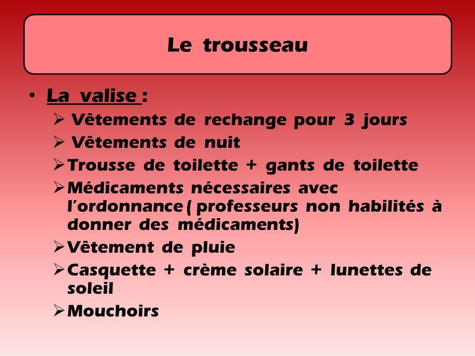 Le trousseau La valise : Vêtements de rechange pour 3 jours Vêtements de nuit Trousse de toilette + gants de toilette Médicaments nécessaires avec lor
