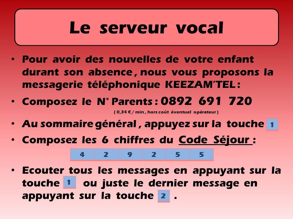 Le serveur vocal Pour avoir des nouvelles de votre enfant durant son absence, nous vous proposons la messagerie téléphonique KEEZAMTEL : Composez le N