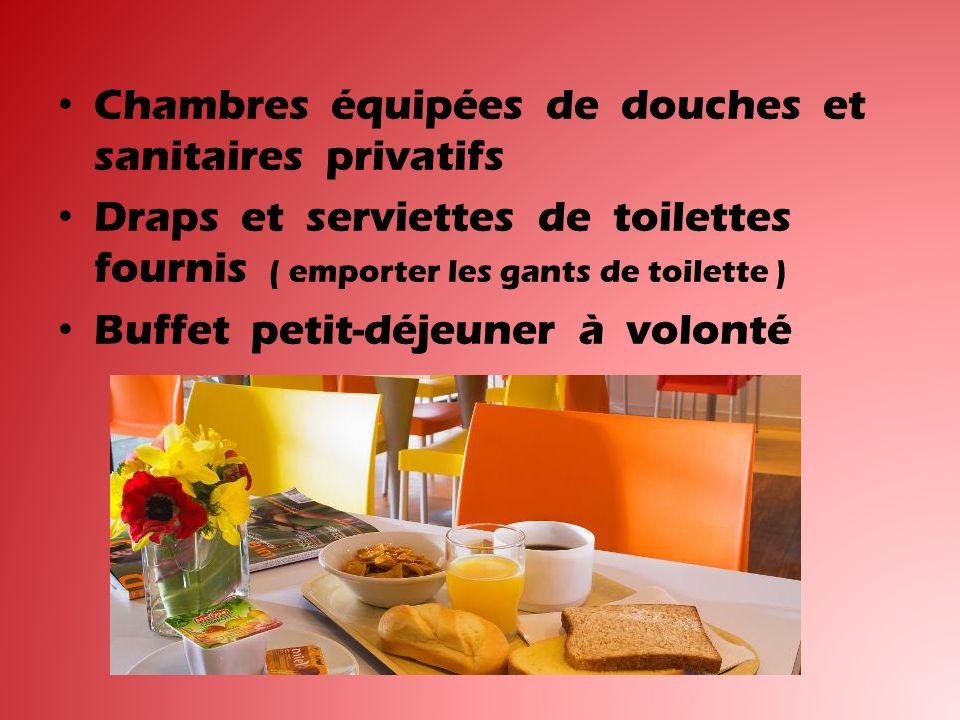 Chambres équipées de douches et sanitaires privatifs Draps et serviettes de toilettes fournis ( emporter les gants de toilette ) Buffet petit-déjeuner à volonté