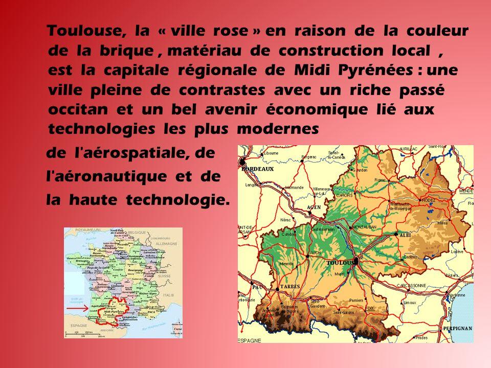 Toulouse, la « ville rose » en raison de la couleur de la brique, matériau de construction local, est la capitale régionale de Midi Pyrénées : une ville pleine de contrastes avec un riche passé occitan et un bel avenir économique lié aux technologies les plus modernes de l aérospatiale, de l aéronautique et de la haute technologie.