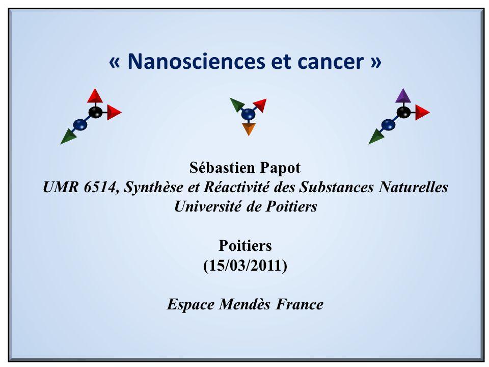 « Nanosciences et cancer » Sébastien Papot UMR 6514, Synthèse et Réactivité des Substances Naturelles Université de Poitiers Poitiers (15/03/2011) Esp