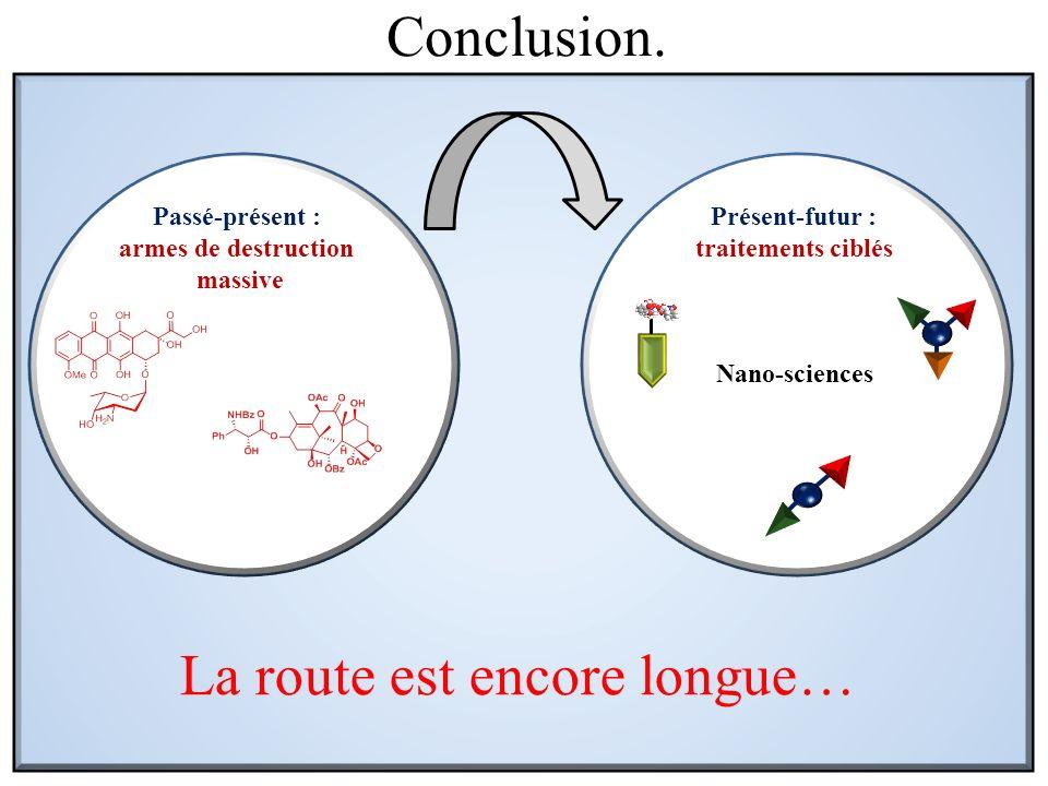 Conclusion. Passé-présent : armes de destruction massive Présent-futur : traitements ciblés La route est encore longue… Nano-sciences