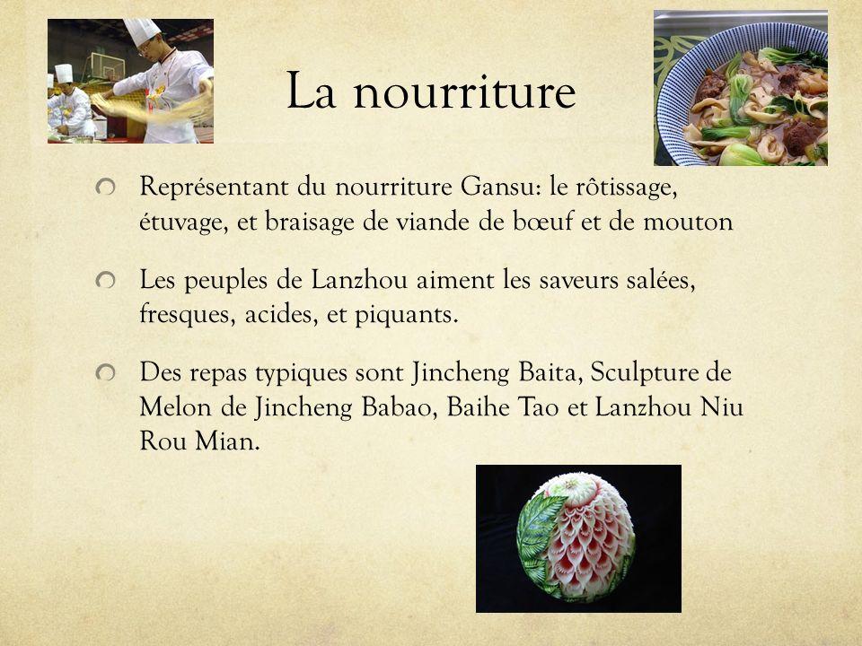 La nourriture Représentant du nourriture Gansu: le rôtissage, étuvage, et braisage de viande de bœuf et de mouton Les peuples de Lanzhou aiment les sa