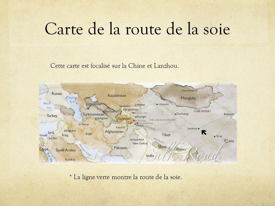 Carte de la route de la soie Cette carte est focalisé sur la Chine et Lanzhou. * La ligne verte montre la route de la soie.