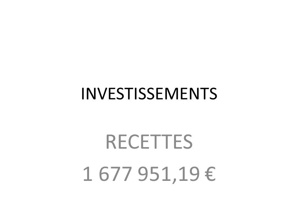 INVESTISSEMENTS RECETTES 1 677 951,19