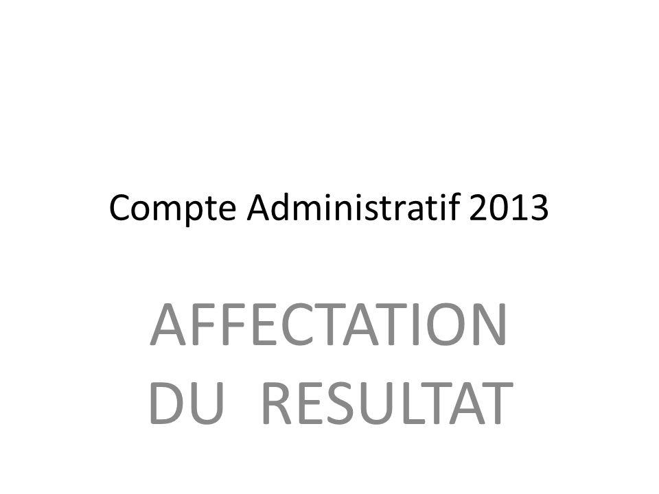 Compte Administratif 2013 AFFECTATION DU RESULTAT