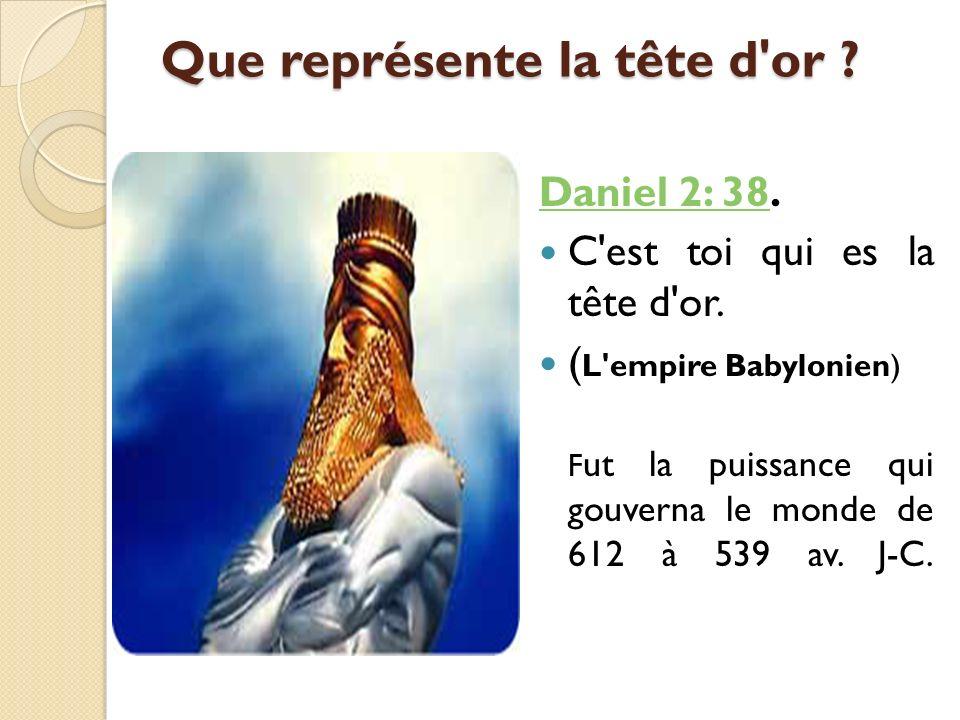Que représente la tête d'or ? Daniel 2: 38Daniel 2: 38. C'est toi qui es la tête d'or. ( L'empire Babylonien) F ut la puissance qui gouverna le monde