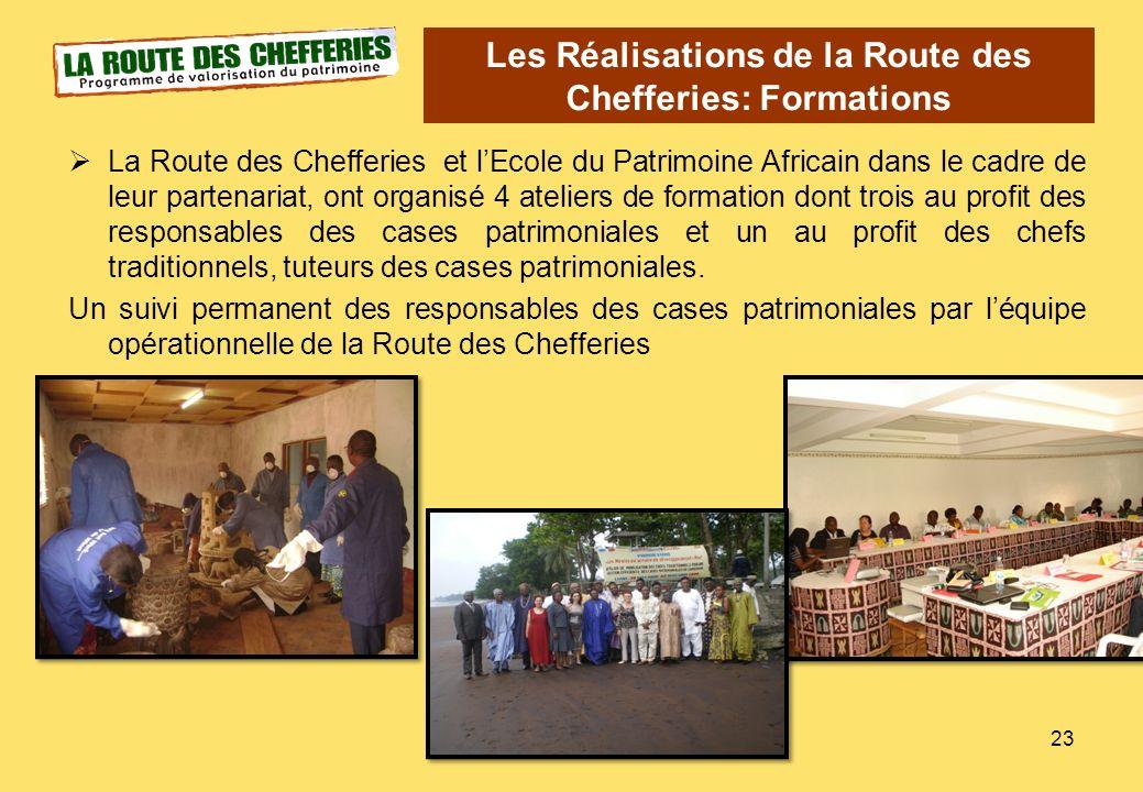 La Route des Chefferies et lEcole du Patrimoine Africain dans le cadre de leur partenariat, ont organisé 4 ateliers de formation dont trois au profit