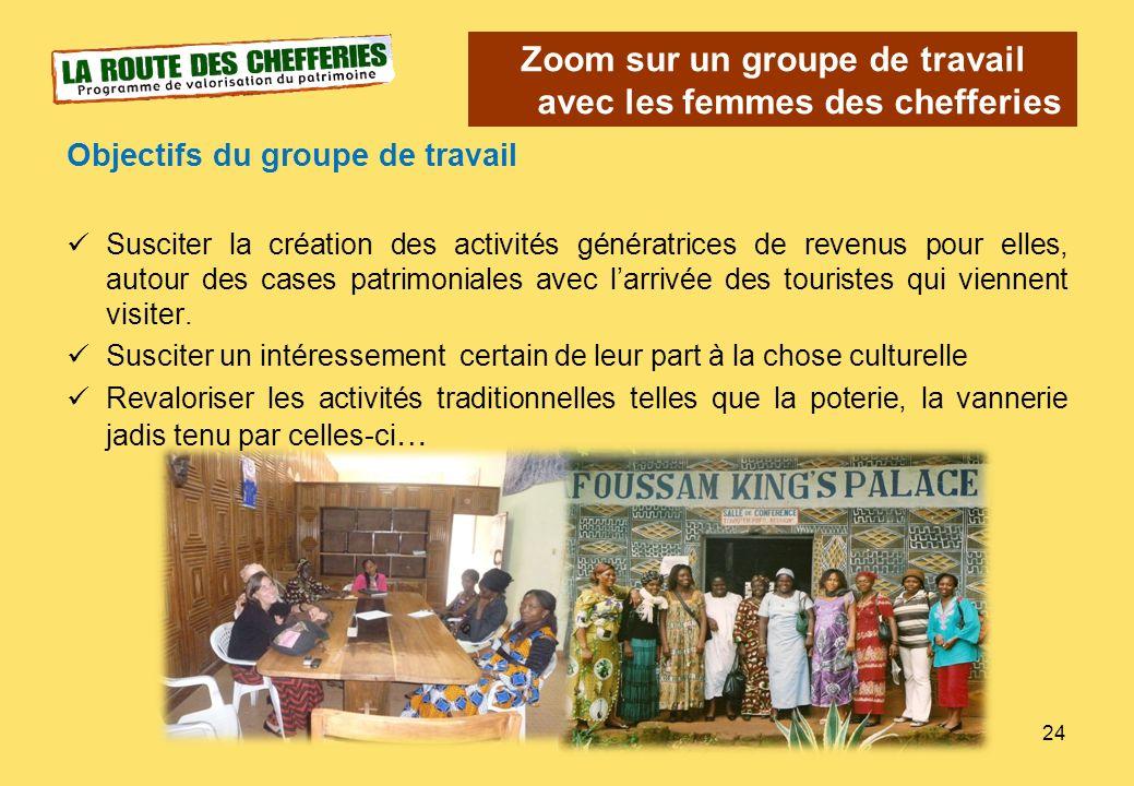 Zoom sur un groupe de travail avec les femmes des chefferies Objectifs du groupe de travail Susciter la création des activités génératrices de revenus