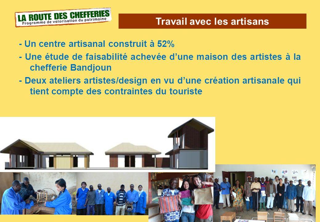 Travail avec les artisans 26 - Un centre artisanal construit à 52% - Une étude de faisabilité achevée dune maison des artistes à la chefferie Bandjoun