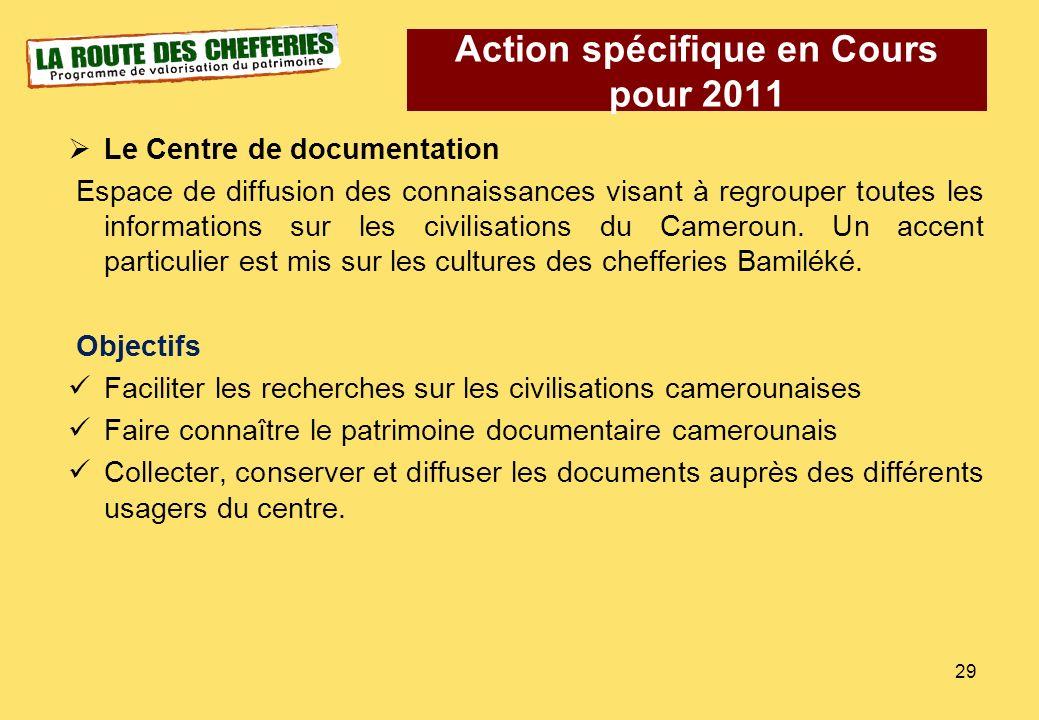 Le Centre de documentation Espace de diffusion des connaissances visant à regrouper toutes les informations sur les civilisations du Cameroun. Un acce