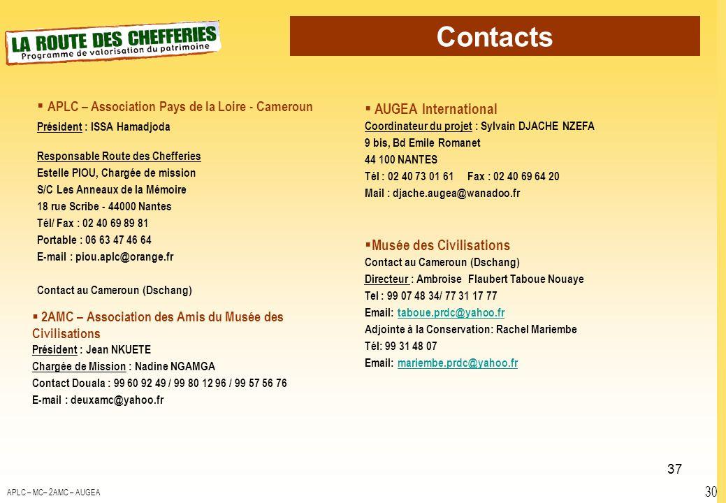 Contacts 30 APLC – Association Pays de la Loire - Cameroun Président : ISSA Hamadjoda Responsable Route des Chefferies Estelle PIOU, Chargée de missio