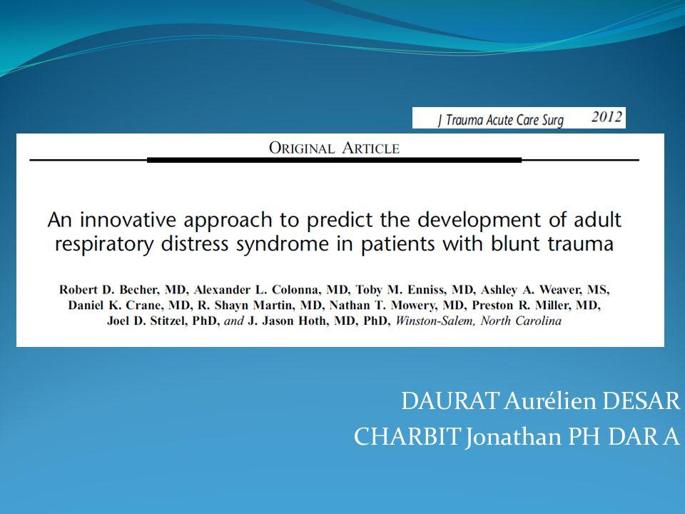 Contusion pulmonaire 1/4 des Traumas sévères (ISS>15) Stephen WJS 2010 25-50% de complications(SDRA ou pneumonie) 25% de mortalité, 50% si ARDS Wu Am J Emerg Med