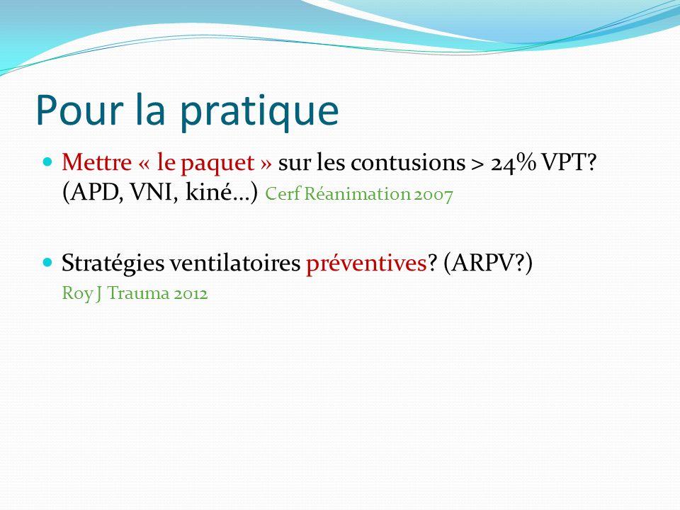 Pour la pratique Mettre « le paquet » sur les contusions > 24% VPT.
