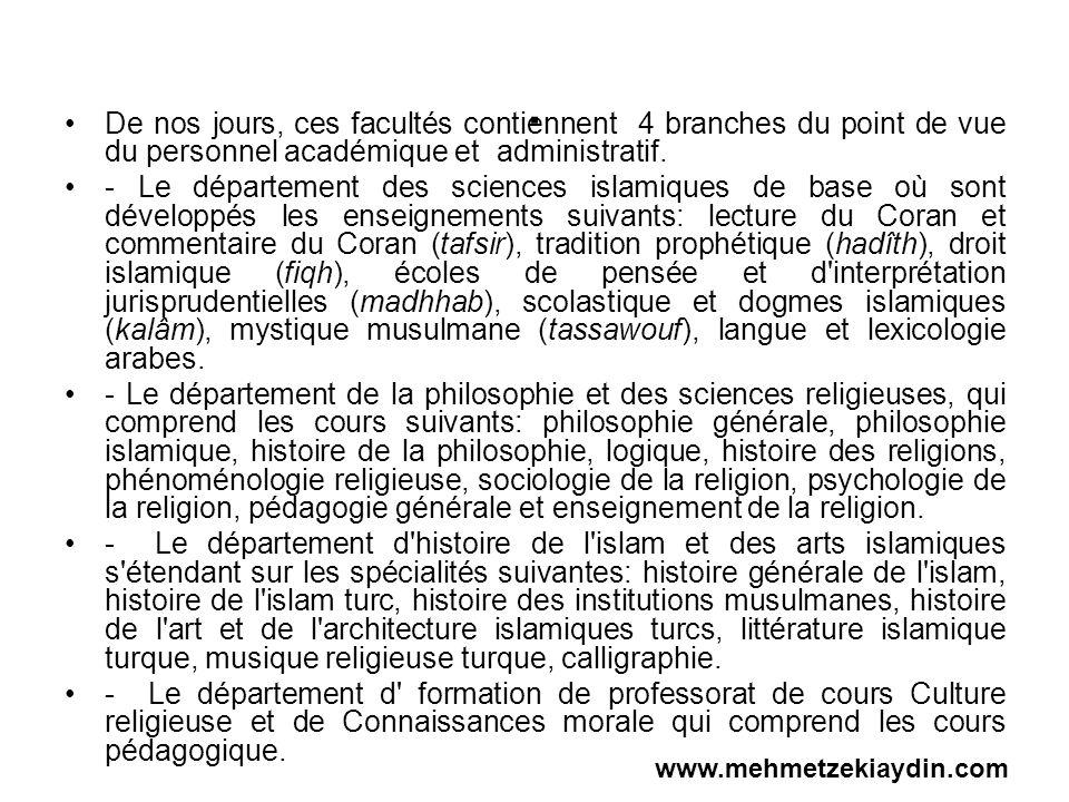 . De nos jours, ces facultés contiennent 4 branches du point de vue du personnel académique et administratif. - Le département des sciences islamiques