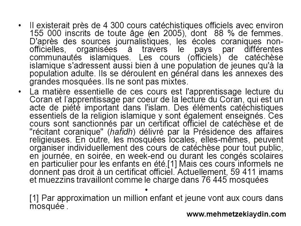 . Il existerait près de 4 300 cours catéchistiques officiels avec environ 155 000 inscrits de toute âge (en 2005), dont 88 % de femmes. D'après des so