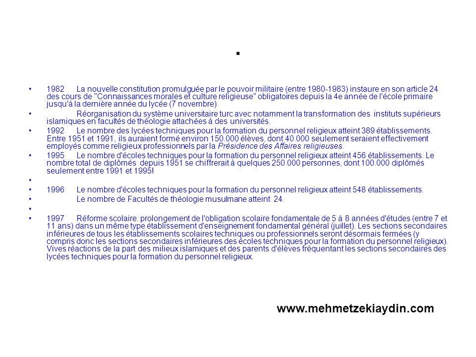 . 1982La nouvelle constitution promulguée par le pouvoir militaire (entre 1980-1983) instaure en son article 24 des cours de