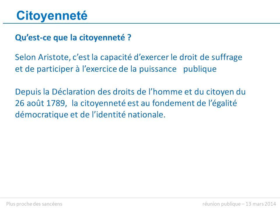 Citoyenneté réunion publique – 13 mars 2014Plus proche des sancéens