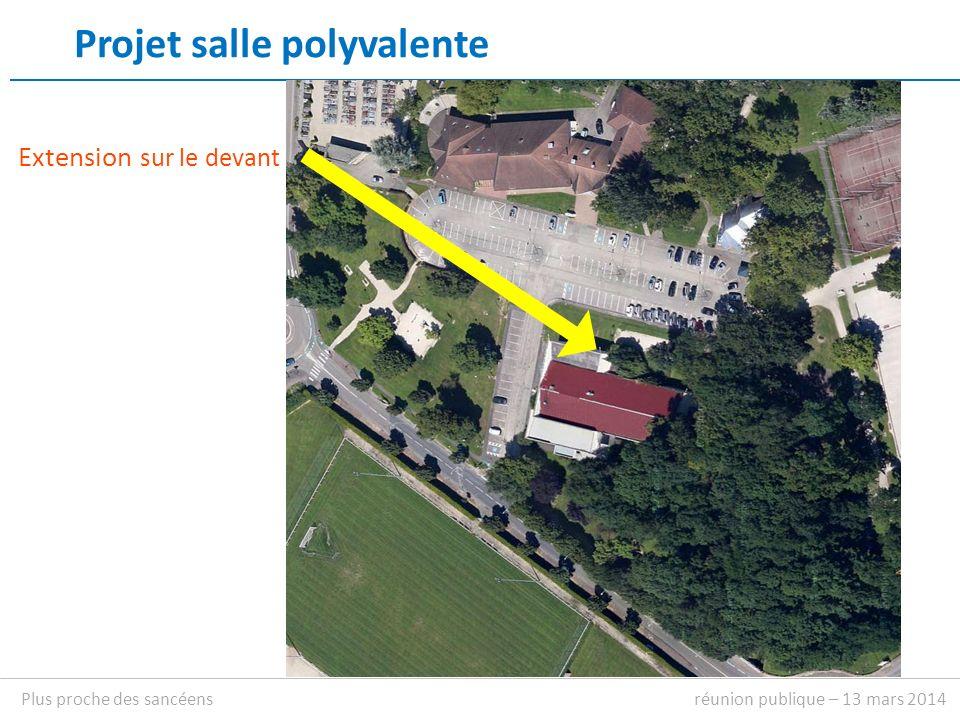 Projet salle polyvalente Extension sur le devant réunion publique – 13 mars 2014Plus proche des sancéens