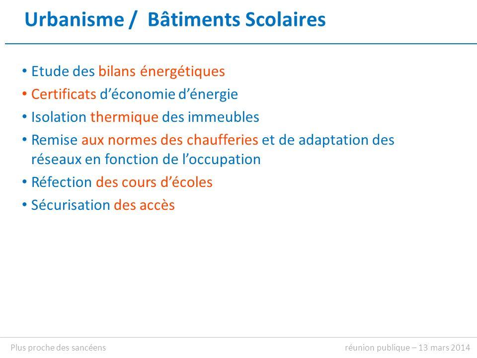 Affaires Scolaires réunion publique – 13 mars 2014Plus proche des sancéens