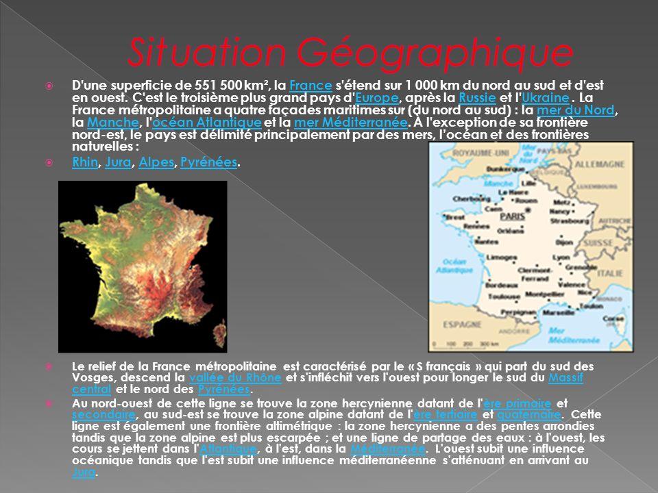 D'une superficie de 551 500 km², la France s'étend sur 1 000 km du nord au sud et d'est en ouest. C'est le troisième plus grand pays d'Europe, après l
