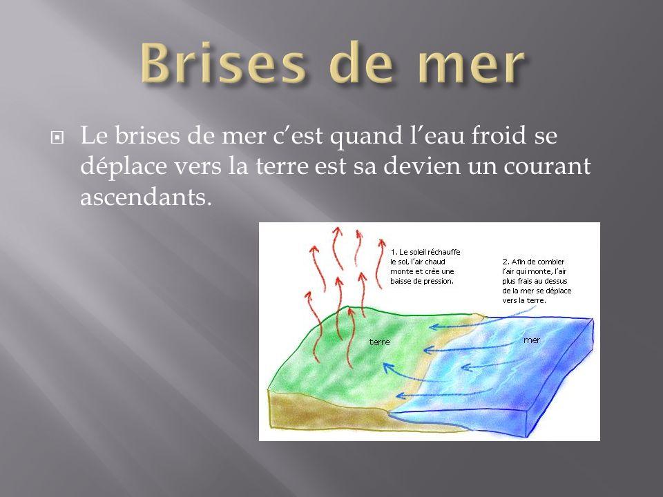 Le brises de mer cest quand leau froid se déplace vers la terre est sa devien un courant ascendants.