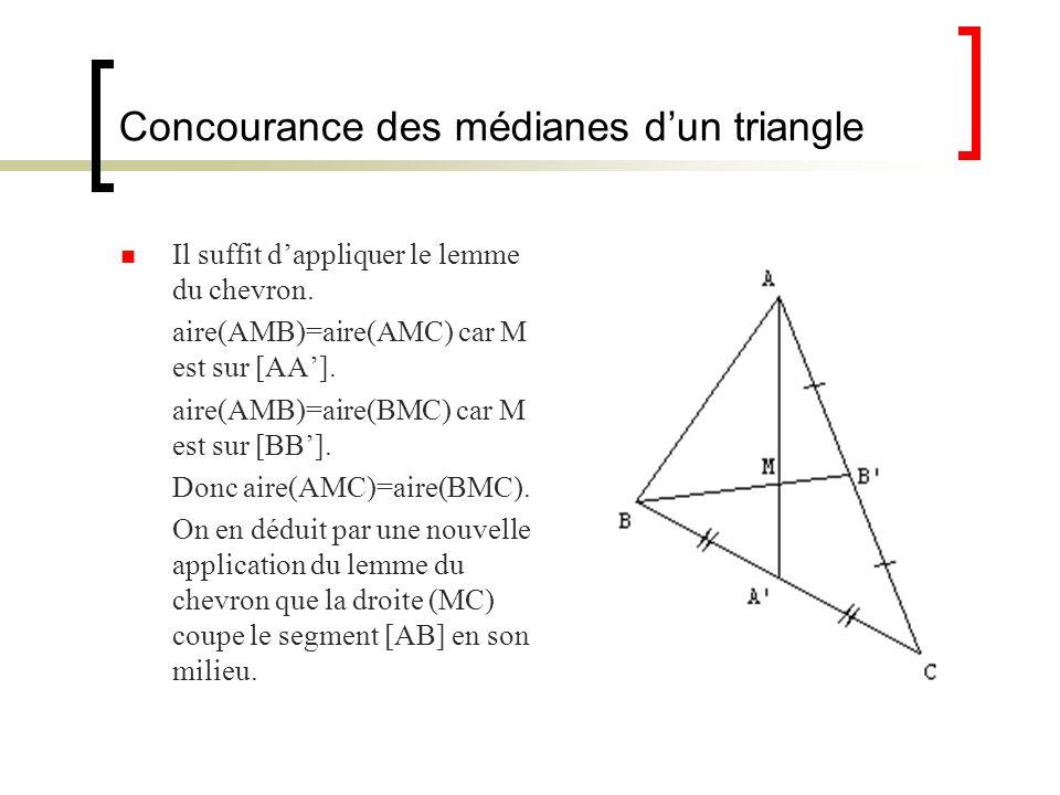 Concourance des médianes dun triangle Il suffit dappliquer le lemme du chevron. aire(AMB)=aire(AMC) car M est sur [AA]. aire(AMB)=aire(BMC) car M est