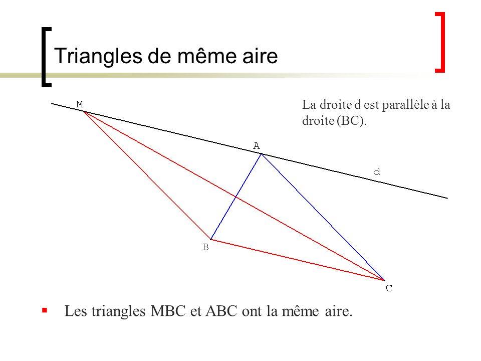 Triangles de même aire La droite d est parallèle à la droite (BC). Les triangles MBC et ABC ont la même aire.