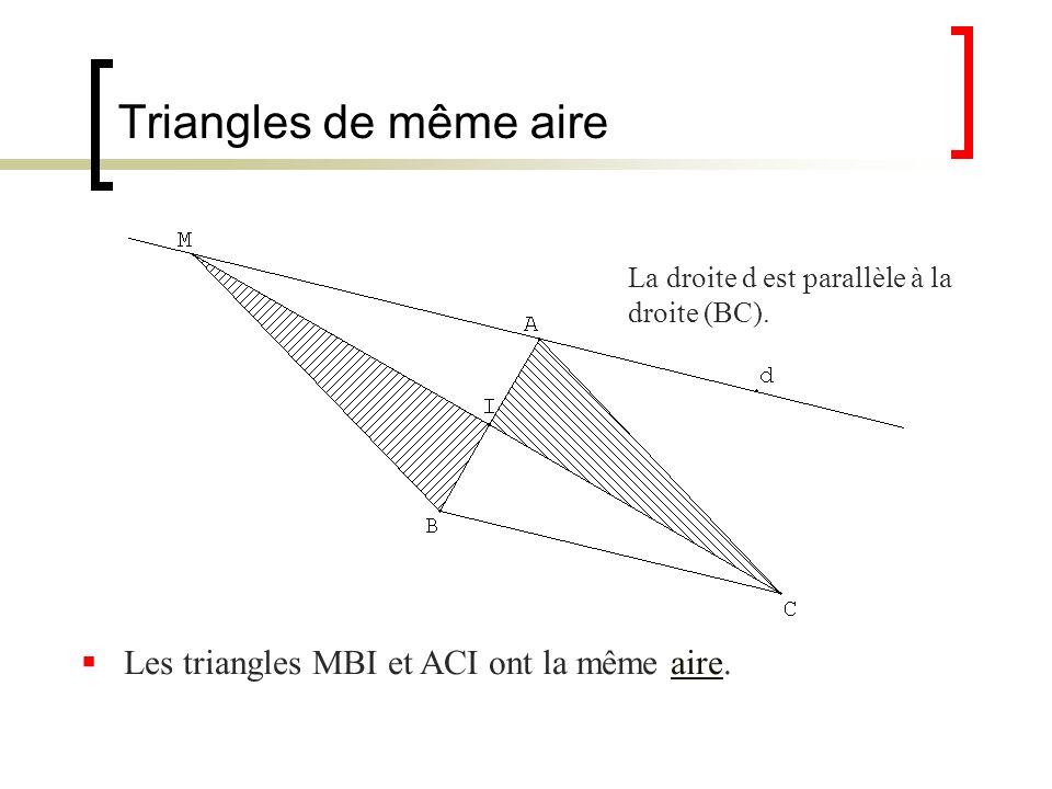 Triangles de même aire La droite d est parallèle à la droite (BC). Les triangles MBI et ACI ont la même aire.aire