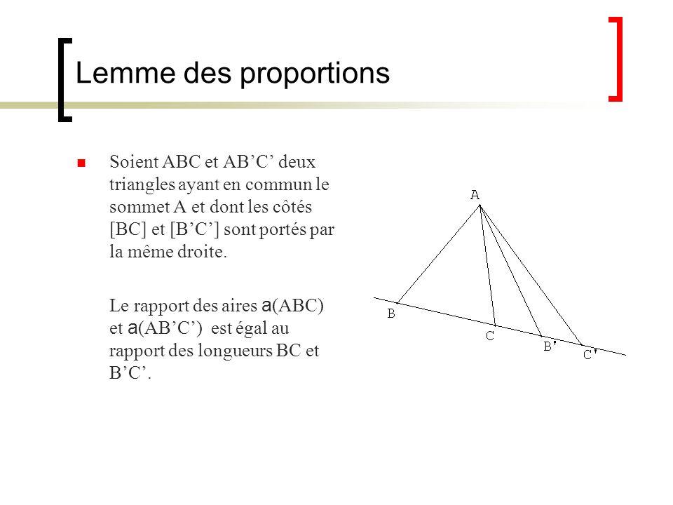 Lemme des proportions Soient ABC et ABC deux triangles ayant en commun le sommet A et dont les côtés [BC] et [BC] sont portés par la même droite. Le r