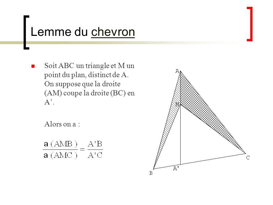 Lemme du chevronchevron Soit ABC un triangle et M un point du plan, distinct de A. On suppose que la droite (AM) coupe la droite (BC) en A. Alors on a