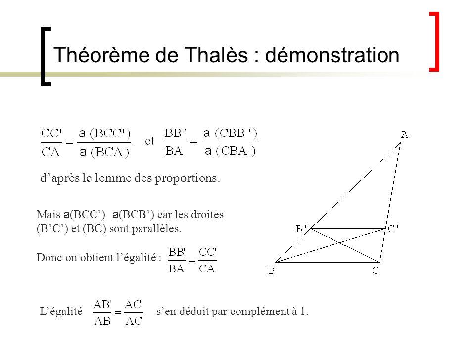 Théorème de Thalès : démonstration daprès le lemme des proportions. Mais a (BCC)= a (BCB) car les droites (BC) et (BC) sont parallèles. Donc on obtien