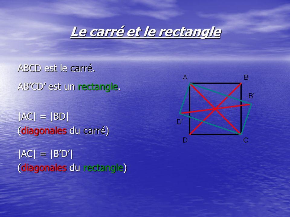 Le carré et le rectangle Sachant que le carré ABCD a une aire de 144 cm², il est possible de déterminer la mesure des côtés de celui-ci.