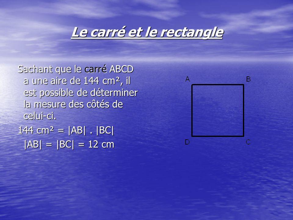 Le carré et le rectangle Sachant que le carré ABCD a une aire de 144 cm², il est possible de déterminer la mesure des côtés de celui-ci. 144 cm² = |AB