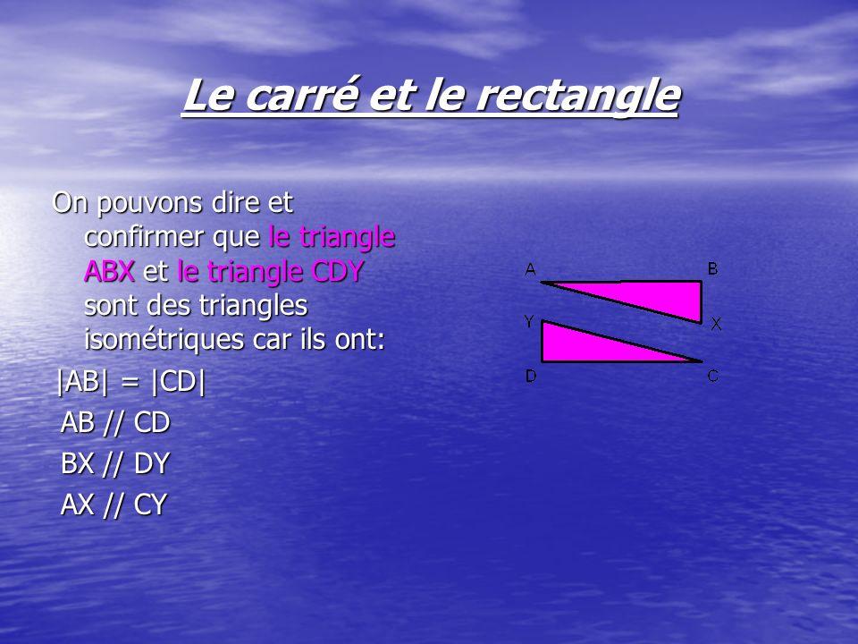 On pouvons dire et confirmer que le triangle ABX et le triangle CDY sont des triangles isométriques car ils ont: |AB| = |CD| AB // CD BX // DY AX // C