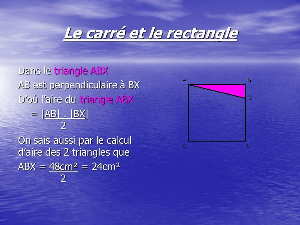 Dans le triangle ABX AB est perpendiculaire à BX Doù laire du triangle ABX = |AB|. |BX| 2 On sais aussi par le calcul daire des 2 triangles que ABX =