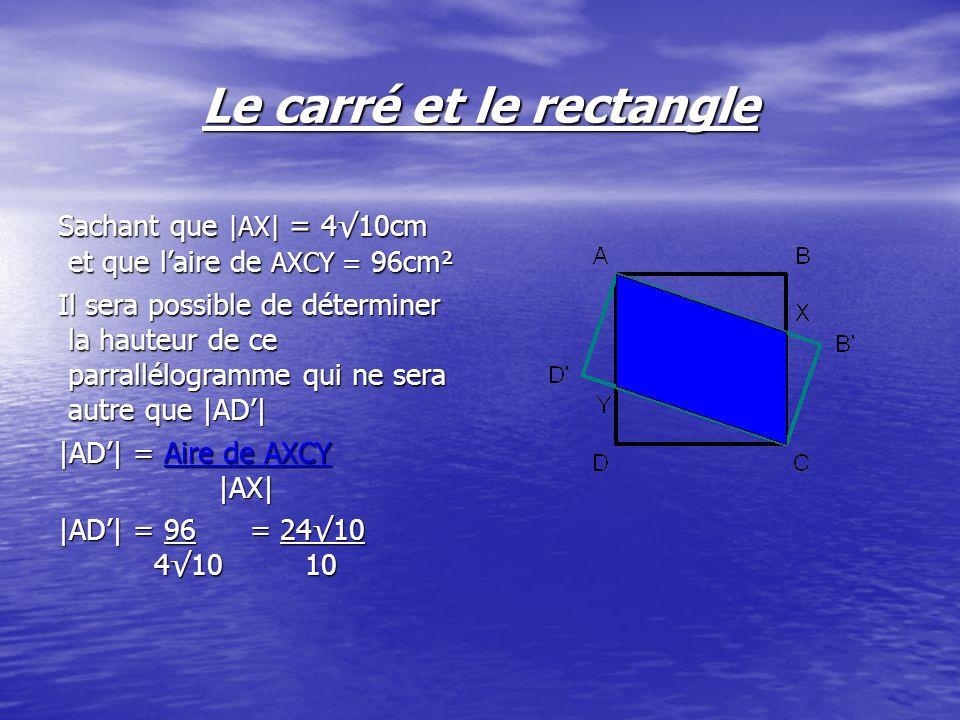 Par Pythagore cherchons |DY|: |DY|² = |AY|² - |AD|² |DY|² = 8² - ( 2410 )² 10 |DY|² = 64 – 576 = 64 10 1 10 |DY| = 8 = 810 10 10 Laire de DAY = 2410.