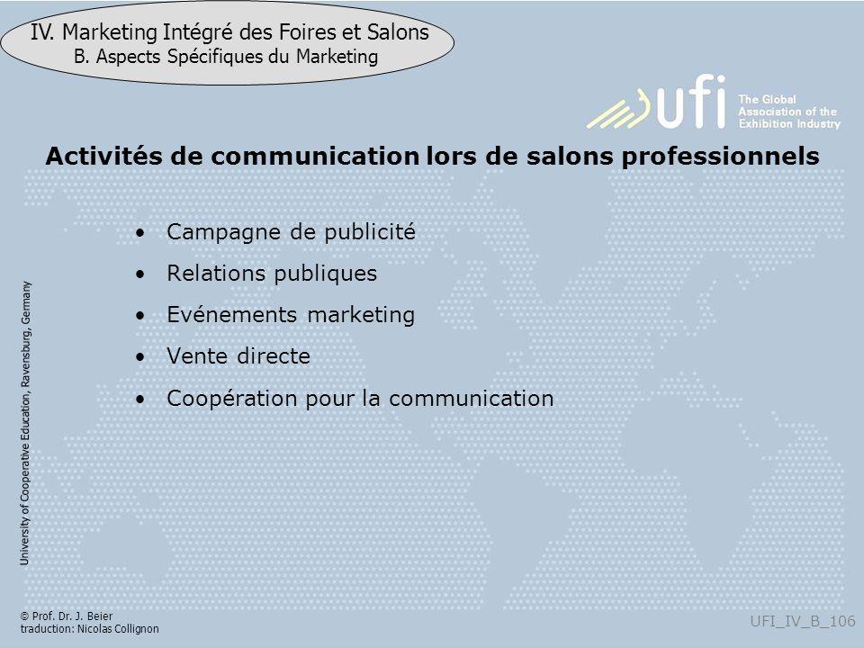 University of Cooperative Education, Ravensburg, Germany UFI_IV_B_106 IV. Marketing Intégré des Foires et Salons B. Aspects Spécifiques du Marketing ©