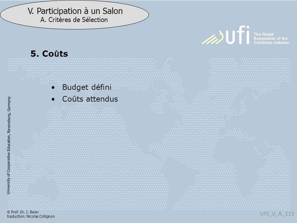 University of Cooperative Education, Ravensburg, Germany UFI_V_A_115 V. Participation à un Salon A. Critères de Sélection © Prof. Dr. J. Beier traduct