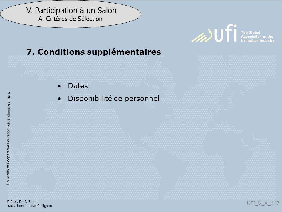 University of Cooperative Education, Ravensburg, Germany UFI_V_A_117 V. Participation à un Salon A. Critères de Sélection © Prof. Dr. J. Beier traduct