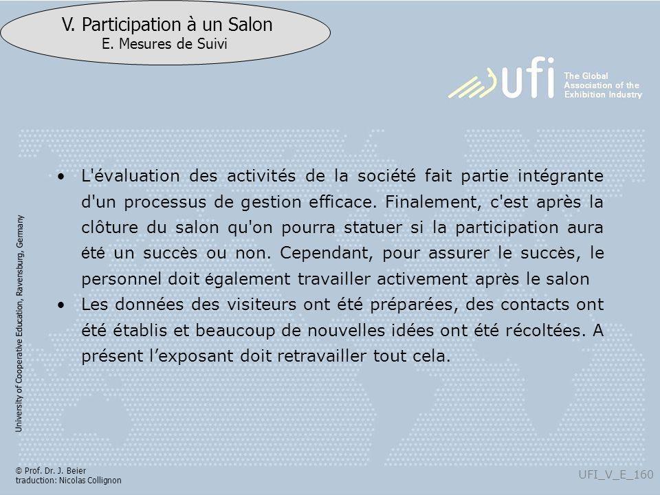 University of Cooperative Education, Ravensburg, Germany UFI_V_E_160 V. Participation à un Salon E. Mesures de Suivi © Prof. Dr. J. Beier traduction: