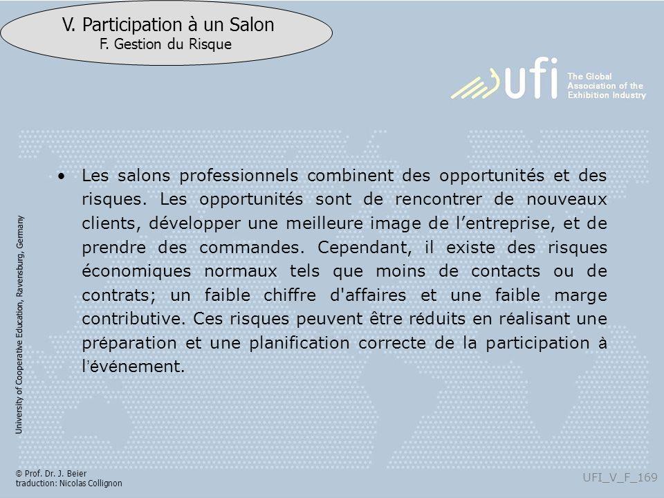 University of Cooperative Education, Ravensburg, Germany UFI_V_F_169 V. Participation à un Salon F. Gestion du Risque © Prof. Dr. J. Beier traduction: