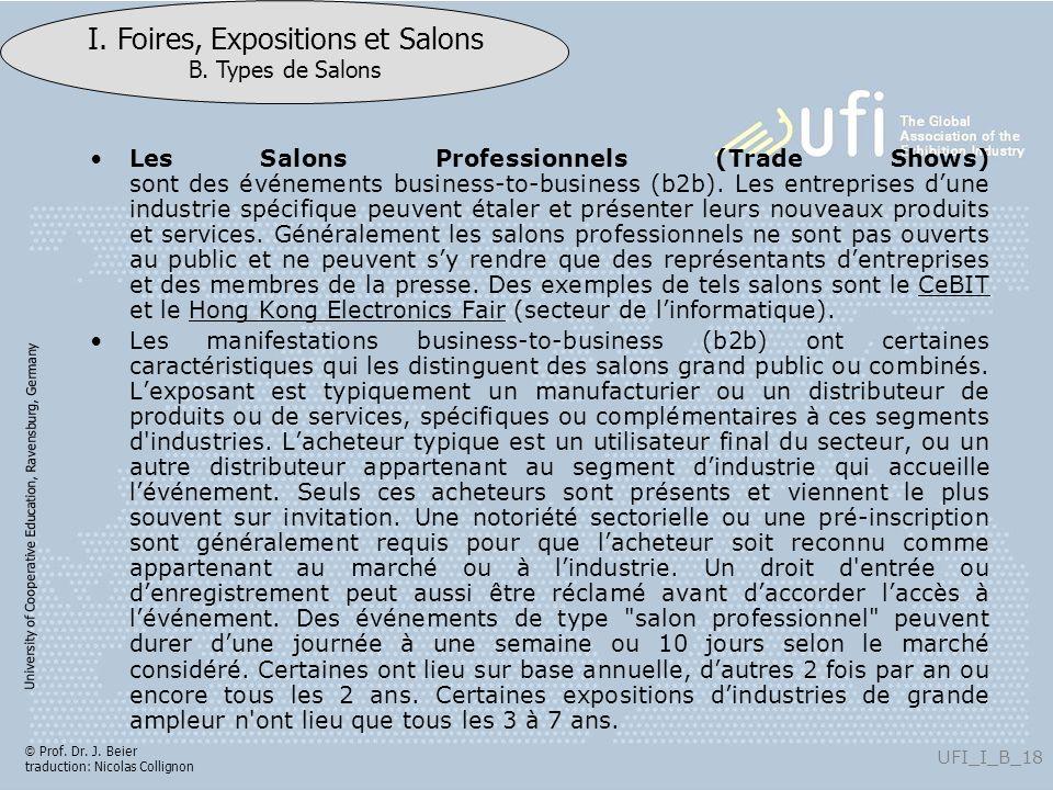 University of Cooperative Education, Ravensburg, Germany UFI_I_B_18 I. Foires, Expositions et Salons B. Types de Salons © Prof. Dr. J. Beier traductio
