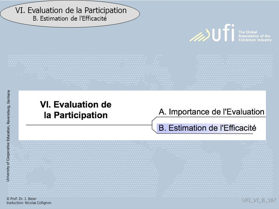 University of Cooperative Education, Ravensburg, Germany UFI_VI_B_187 VI. Evaluation de la Participation B. Estimation de l'Efficacité © Prof. Dr. J.